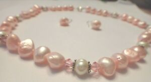 """17"""" Sterling Silver Pink Fresh Water Pearl & 4mm Crystal Necklace & Earring Set"""