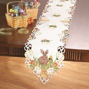 Adorable Easter Bunny and Eggs Embroidered Polyester Table Runner