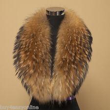 "Men Real Raccoon Fur Collar Scarf Natural Color Neck Warmer 100X17cm/39X7""inch"