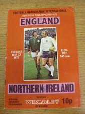 23/05/1972 England v Northern Ireland [At Wembley] (folded, score on front, team