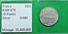 New ListingWorld Foreign Old France 10 francs 1931 Silver Coin Km# 878 Vintage French !