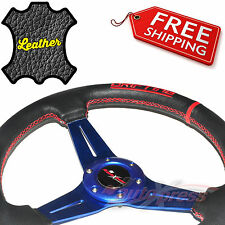 "350mm 14"" LEATHER 3-Spoke CORSICA JDM Steering Wheel FLAT DISH RED Stitch BLUE"