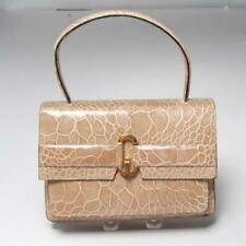 CIRCA 1960'S/70'S MADE IN FRANCE FOR BLOOMINGDALES TAUPE CROCODILE HANDBAG