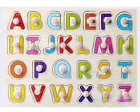 Wooden Alphabet ABC A-Z Letters Shaped Peg Puzzles Boy Girl Educational Toy