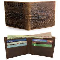 Men's Handmade Genuine Crazy Horse Leather Alligator Embossed Bifold Wallet