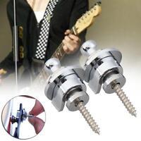 2 pcs Chrome Schaller Style Round Head Strap Locks Straplocks For Guitar Bass KJ