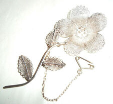 Very pretty Ornate Vintage Solid Silver Flower Brooch with Safety Chain-hallmark