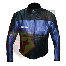 HONDA 5525 BLUE MOTORBIKE COWHIDE LEATHER MOTORCYCLE BIKERS ARMOURED JACKET