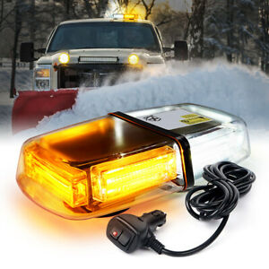 Xprite White & Amber 60W COB LED Rooftop Strobe Light Bar Emergency Hazard Light