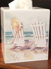 ADIRONDACK CHAIR, BEACH ,SEASHORE Tissue Box  Cover