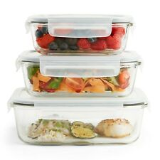 VonShef 3pc Glass Containers Food Storage & 3 Airtight Tupperware Clip Vent Lids
