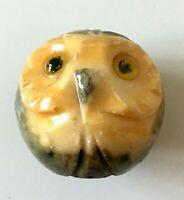 Petite Chouette Hibou sculpte en pîerre marbre ronde