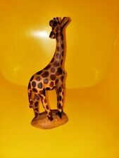 Hand Carved Wooden Giraffe Sculpture Statue Figurine 6 in Tall made in Kenya