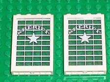 Lot de 2 vitres avec stickers LEGO WESTERN / Set 6755 6764 Sheriff's Lock-Up