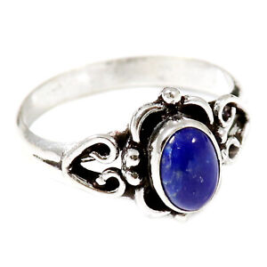 Lapis Lazuli Gemstone Solid 925 Sterling Silver Solitaire Ring Jewelry GESR186O