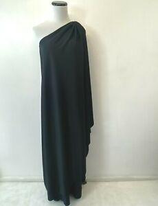 Vintage Halston IV Dress size S Black One Shoulder Goddess Dorian 1970s DS12