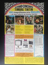 rare ancien dépliant Concours Timbre Tintin