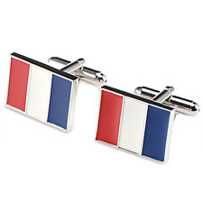 Coppia 2 matrimonio camicia gemelli uomo targa in ottone Francia flag Q8A4 S7H1