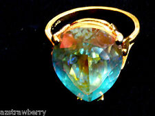 GOLD PLATE OVER STERLING SILVER 925 AURORAL BOREALIS TEARDROP CRYSTAL RING SZ 9