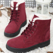 Women's Ladies Flat Lace Up Fur Lined Winter Snow Boots Martin Ankle Boots Shoes