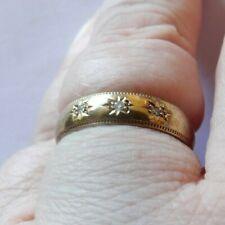 Fully halmarked 9 carat gold wedding band set 3 diamonds size O 1/2 Wng259-4