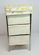 Vtg BADGER BASKETS Baby Doll CHANGING STATION Table Folding Storage White Wicker