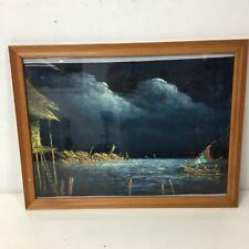 Framed Velvet Painting of Boats On River Scene Signed #319
