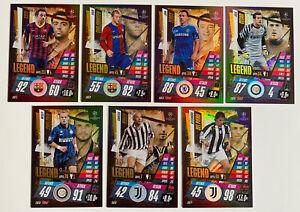 Match Attax 20/21 2020/2021 - All 7 Legends Cards Xavi, Sneijder, Del Piero +