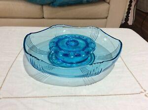 Vintage Art Deco Czech Josef Inwald Blue Glass Poisson Wave Bowl.
