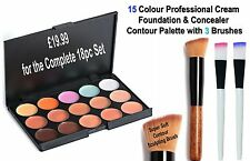 18pc Contour Cream Concealer & Foundation Palette & Brushes for Flawless Finish