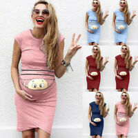 Women Pregnant Cartoon Print Summer Mini Dress Maternity Bodycon Casual Sundress