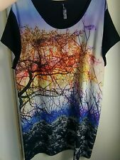 Womens Tunic 22 Plus Size Casual Fashion Short Sleeve Landscape Print Pretty