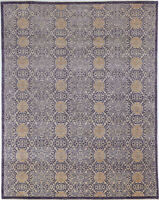 8X10 Hand-Knotted Oushak Carpet Traditional Blue Fine Wool Area Rug D57091