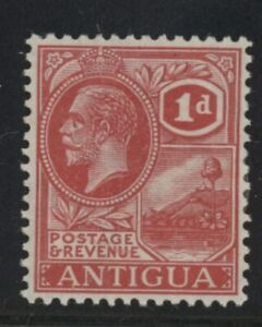 Antigua George V 1d carmine red stamp (SG63) dated 1921-29 mint