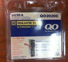 NEW Square D - 20/20 A Tandem Circuit Breaker w/Red Visi-Trip QO2020C, 20/20A