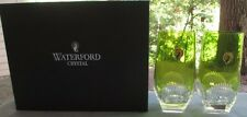 TWO Waterford Crystal Mixology Neon Green Highball Tumblers Mint & New in Box
