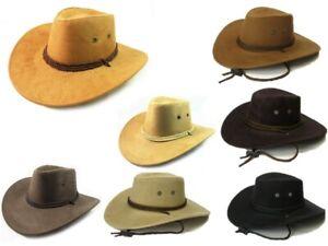 COWBOY FEDORA PANAMA INDIANA JONES STYLE UPTURN WIDE BRIM SUEDE HAT