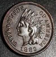 1883 INDIAN HEAD CENT - With LIBERTY & Near 4 DIAMONDS - AU UNC