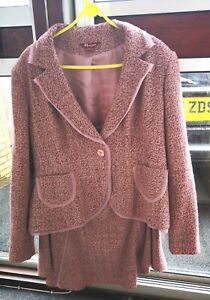 Size 20/22 Monsoon Pink Suit tweed-like wool mix