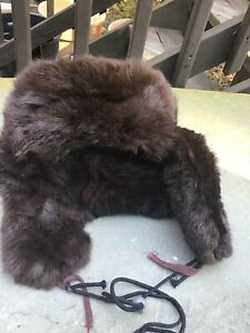 Vintage Russian Ushanka Sable Rabbit or Beaver Hat Size 7
