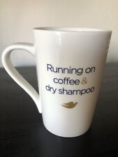 Dove coffee mug running on coffee & dry shampoo White Coffee Mug