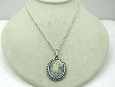"""Vintage Blue Cameo Necklace, 2 Maidens, 18"""" German Chain"""