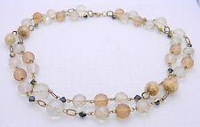 *Retired* LIA SOPHIA Gold Tone Topaz AB Crystal Beaded Dual Strand Necklace Box