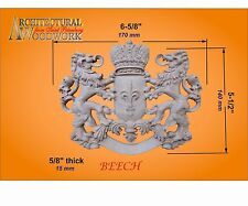 Wood carved Lion Crest Coat of Arms