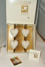 Margaret Furlong Love For You Set of 4 Floral Vine Heart Christmas Ornaments New