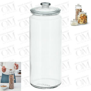 Glass Jar With Push Top Lid Push Top Airtight Canister Cereal Biscuits Cookies