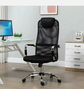Office Chair Mesh Fabric Swivel Desk Chair Home Study Rocker Wheeled Black 38:21