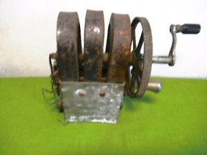 Antique KELLOGG 3-Bar Hand Crank Telephone Magneto Generator with Handle