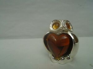 Fabulous French CHRISTOFLE silvered owl with amber jewel body & eyes  LOOK