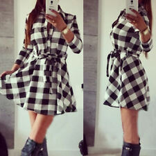 UK Women Tartan Plaid Check Long Sleeve Shirt Dress Waist Tie Mini Dress Fit Top